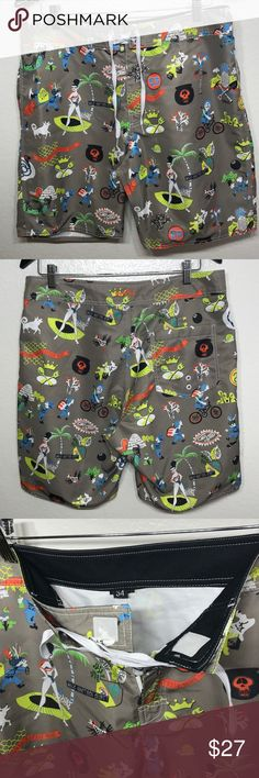 STUSSY All Over Printed Surf Board Trunks Shorts STUSSY All Over Printed Surf Board Trunks Shorts Men's Sz Waist 34 Excellent Used Condition Refer to pictures for details Stussy Shorts
