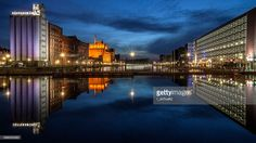 Night view of a harbour in Duisburg, Germany. The Innenhafen serves as a venue for cultural events, it offers a museum and several restaurants.