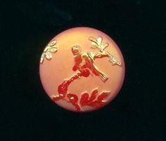 Vintage Button...Orange-Red Aurora Glass Pictorial....Bird on Branch