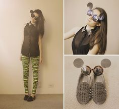 LOOKBOOK. Diy Shirt, Urban Outfitters Leggings, Oasap Spike Loafers, Romwe Sunglasses