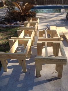 Bee hive stands made from scrap lumber.