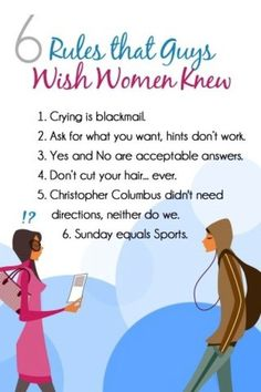 6 Rules that Guys Wish Women Knew.