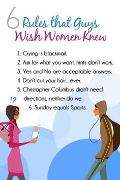 6 Rules that Guys Wish Women Knew.