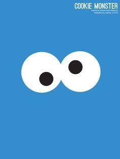 Sesame Street Cookie Monster Illustration Poster via design. bake. run.