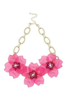 This Oasis floral, statement necklace would look perfect with our Plain Dip Back Cami or Lace Crepe Dress.