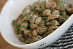 Georgian recipes: creamy mushrooms with spices and herbs - great spice combo, cream is easily subbed with veg options.