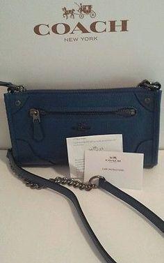 NEW to Coach DENIM BLUE  Grain Leather Mickie Crossbody F52646 . Box, receipt.