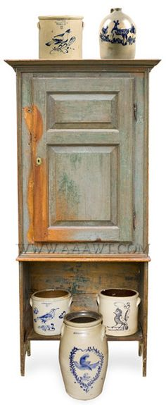 Cupboard, Wall, Blue Paint, Fielded Paneled Door, Molded Cornice  Anonymous  Circa 1800  White Pine