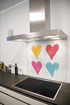 Rainbow Hearts Printed Glass Splashback from DIYSplashbacks.co.uk