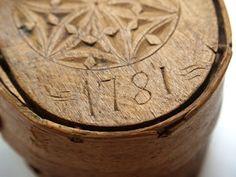Hand carved wooden wedding box/ bride's box, ca. 1781.