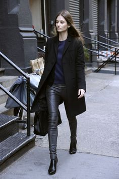 womensweardaily: They Are Wearing: Shopper Style Autumn Winter Fashion, Fall Winter, Fall Fashion, Street Chic, Street Wear, Black And Navy, Black Skinnies, Leather Fashion, Fashion News