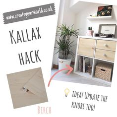 """Create Your World Ltd on Instagram: """"Trend Alert! Combine a pale wood with white to update your Kallax unit, choose different knobs to complete the look! Voila! 😊 . . . . .…"""" Childrens Bedroom Decor, Boys Room Decor, Playroom Decor, Kids Bedroom, Dc Fix, Ikea Furniture Hacks, Interior Decorating, Interior Design, Kallax"""
