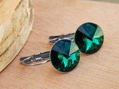 Emerald crystal earrings emerald green by SheJustSaidYes on Etsy, $19.00