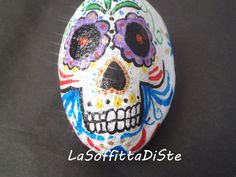 sugar skull painted rock stone mardi gras calaveras rocks halloween home decoration baby room paperweight white gold ooak lasoffittadiste
