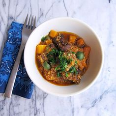 One-Pot Stew with Malbec on Food & Wine.   *Note to self - leave out the couscous and serve it over Barefoot Contessa couscous with currants and pine nuts.  Super yum.