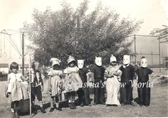 1920's snapshot of kids in masks.  From my private collection.