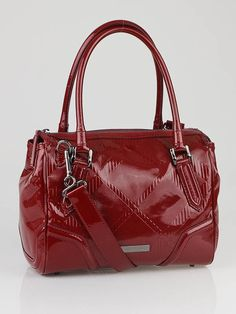 Burberry Red Check Embossed Patent Leather Medium Bowling Bag - 2010 narodeniny Kimiho