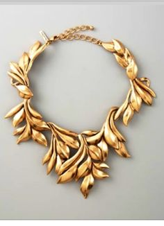 Precious Gold, Leaf Design, Necklace, Would Be Stunning on a Burgundy Velvet Evening Dress