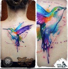 Watercolor Hummingbird Tattoo on Back by Ewa Sroka
