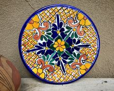 "10-1/4"" Mexican Talavera Plate Wall Hanging Yellow Blue, Rustic Southwestern Home Decor, Folk Art"