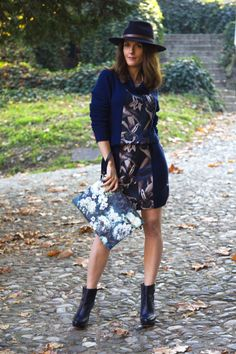 Nature print on my blue dress and a special watch