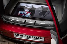 Mini cooper Clubman Concept Revealed Ahead of Geneva Debut Photo Gallery - Motor Trend interior console red black grey silver chrome vinyl possibility custom trunk in case of emergency change of clothes