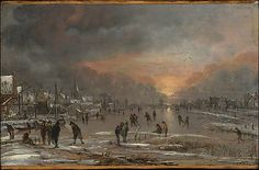 Sports on a Frozen River, Amsterdam. Aert van der Neer. 1660. Amsterdam. Accession Number: 32.100.11. On view in Gallery 638. Depicting time.