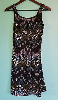 Used GLAMOUR Women Sundress Dress Size 6 black green blue Casual Print