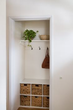 Hall Closet Made Into A Mini Mudroom - zevy joy Decor, Home Diy, Home, Hall Closet, Hallway Closet, Small Closets, Entry Closet, Apartment Decor, Mudroom