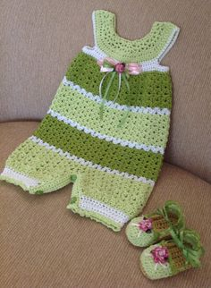 Crochet romper and matching espadrilles 9-12 months $47