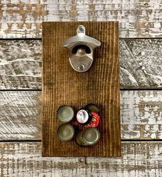 Magnetic Bottle Opener - Rustic - Made From Pallet Wood - 8 Finishes To Choose From - Craft Beer Drink Local Groomsmen gift magnetic bottle