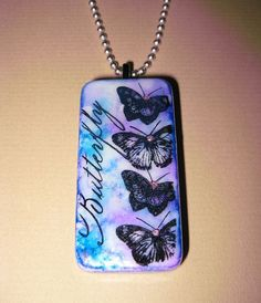 Pretty Butterfly Pendant, Altered Domino