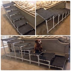 PVC dog steps for your bed made with outdoor carpet , wood and zip ties !!