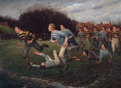 William Barns Wollen exhibited this painting at the Royal Academy, and it shows the 1877 Yorkshire Challenge Cup final between Halifax and York at Holbeck Recreation Ground, Leeds. 'Football' by William Barns Wollen World Rugby Museum Twickenham Stadium, Irish Rugby, World Rugby, Rugby League, Art Uk, Art Boards, Les Oeuvres, Portrait Photography, Sports
