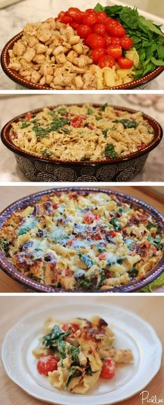 Chicken + Spinach + Tomato Pasta Bake...