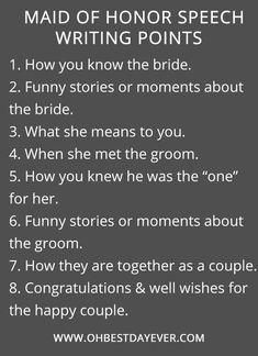 maid of honor speech writing point ideas #wedding #weddingtips #weddingideas #weddingplanningchecklist