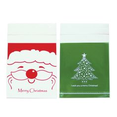 Green color tree & White color santa printed cellophane bags. Self adhesive bags. christmas wrapping ideas.
