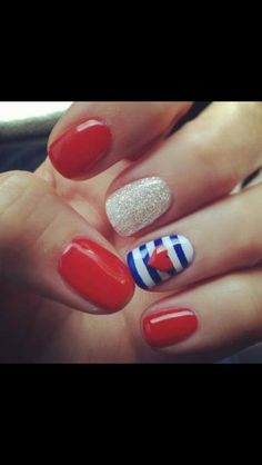 Red/white  blue nails!