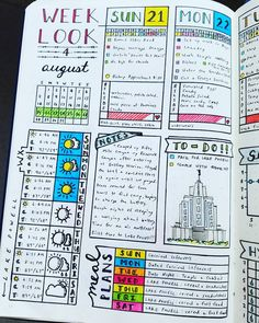 "Gefällt 319 Mal, 17 Kommentare - Micah (@my_blue_sky_design) auf Instagram: ""Daily Spread - August 2016 Week 4  #bujojunkies #bujo #bulletjournal #bullet #journaling #journal…"""