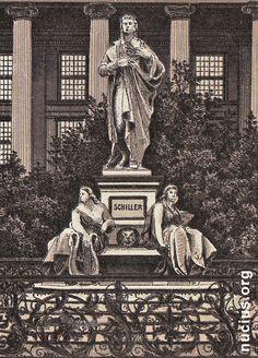 Schillerdenkmal op de Gendarmenmarkt Berlijn 1900; het is daarna verschillende keren verplaatst en gerestaureerd.