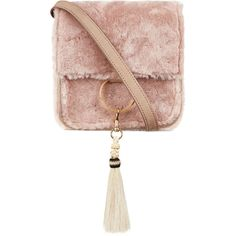 Brother Vellies Pink Shearling Palma Box Bag ($805) ❤ liked on Polyvore featuring bags, handbags, shoulder bags, purses, shoulder bag purse, shearling handbags, brother vellies, tassel handbag and woven handbags