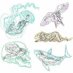Tattoo Sketches, Art Sketches, Art Drawings, Shark Tattoos, Animal Tattoos, Mini Tattoos, Body Art Tattoos, Arte Sketchbook, Pretty Tattoos