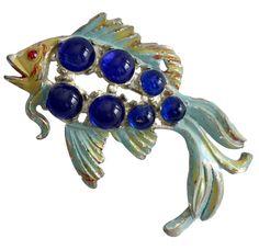 Vintage 40's Pot Metal Koi Fish Blue Brooch Pin #Unbranded