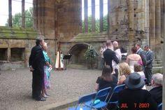 Michelle Dalton Harp at Melrose Abbey wedding