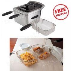 Steel-Dual-Deep-Fryer-4L-Fried-Foods-Baskets-Viewing-Window-Temperature-Control