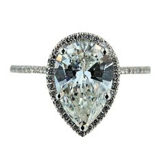 2.16ct Pear Shaped Diamond In Custom Platinum Halo