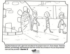 Kids coloring page from What's in the Bible? featuring Shadrach, Meshach and Abednego from Daniel 3. Volume 9: God Speaks!
