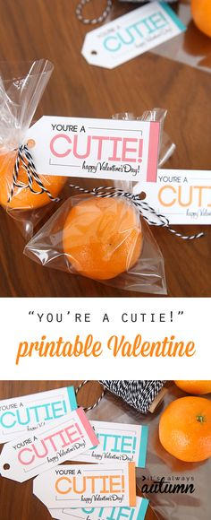 """Great healthy option for a Valentine's Day treat! Free printable """"you're a cutie"""" Valentines are an easy candy free alternative kids will love."""
