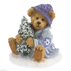 Boyds Figurine *Gretta Glitterbeary * Bear holding Tree Purple Christmas 2014 #Christmas
