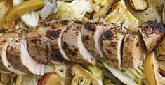 Dijon Pork with Apples and Cabbage | Allrecipes Apples And Cabbage Recipe, Cabbage Recipes, Veal Recipes, Cooking Recipes, Slow Cooked Pulled Pork, Dinner Ideas, Dinner Recipes, Healthy Food, Healthy Recipes
